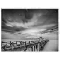 Black and White Wooden Bridge and Sky - Sea Pier Glossy Metal Wall Art