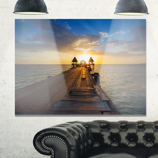 Huge Wooden Pier into Setting Sun - Sea Pier and Bridge Glossy Metal Wall Art