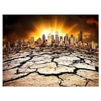 City with Effect of Climate Change - Extra Large Glossy Metal Wall Art Landscape