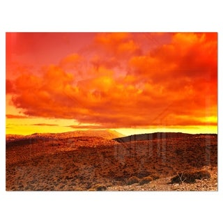 Dramatic Red Sunset at Desert - Extra Large Glossy Metal Wall Art Landscape