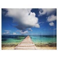 Long Pier into Serene Maldives Ocean - Large Sea Bridge Glossy Metal Wall Art