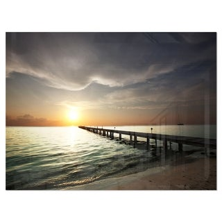 Long Boardwalk in the Cloudy Dark Sea - Large Sea Bridge Glossy Metal Wall Art