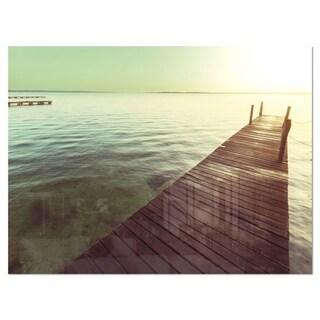 Wooden Boardwalk over Clear Waters - Large Sea Bridge Glossy Metal Wall Art