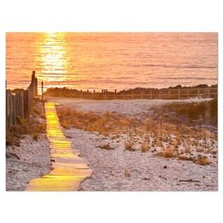 Yellowish Boardwalk into Seashore - Large Sea Bridge Glossy Metal Wall Art