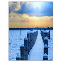 Fantastic Blue Boardwalk and Seashore - Large Sea Bridge Glossy Metal Wall Art