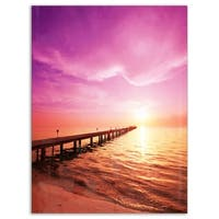 Brown Sea and Pier under Magenta Sky - Large Sea Bridge Glossy Metal Wall Art