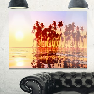 Beautiful Row of Coconut Palms on Beach - Extra Large Seascape Glossy Metal Wall Art