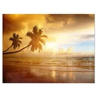 Beautiful Palms at the Caribbean Beach - Extra Large Seascape Glossy Metal Wall Art