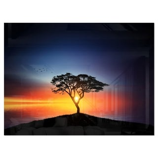 Beautiful Sunset over Lonely Tree - Extra Large Glossy Metal Wall Art Landscape