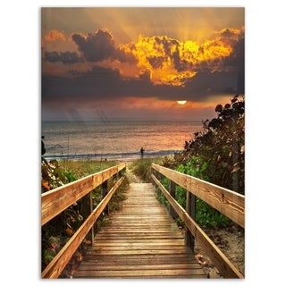Long Wooden Stairs into the Sea - Large Sea Bridge Glossy Metal Wall Art