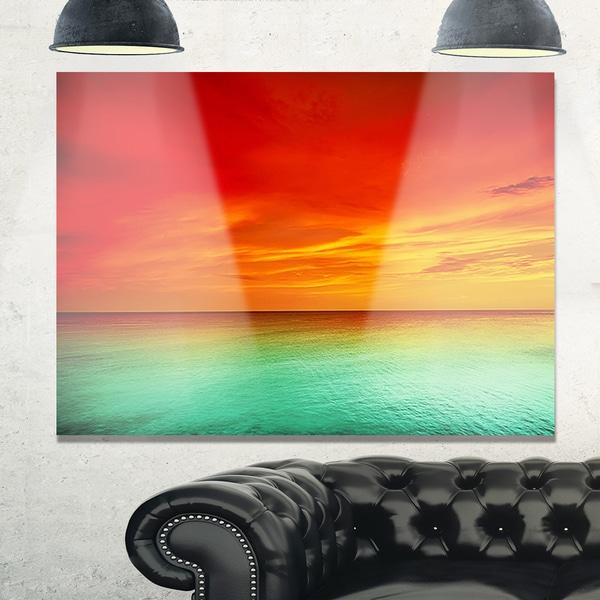 Artist Blue Red Sunset - Modern Seashore Glossy Metal Wall Art