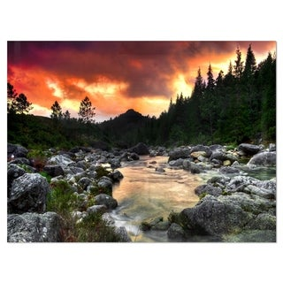 Rocky Mountain River at Sunset - Extra Large Glossy Metal Wall Art Landscape