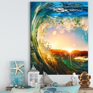 Colored Ocean Waves Falling Down - Modern Seashore Glossy Metal Wall Art (3 options available)