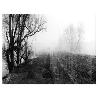 Black and White Misty Landscape Panorama - Landscape Glossy Metal Wall Art