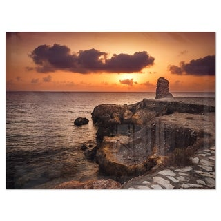 Beach Sunset with Ancient Ruins - Oversized Beach Glossy Metal Wall Art