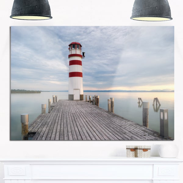 Lighthouse At Lake Neusiedl Sunset Large Sea Bridge Glossy Metal Wall Art On Free Shipping Today 12781750