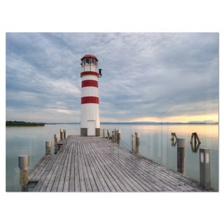 Lighthouse at Lake Neusiedl at Sunset - Large Sea Bridge Glossy Metal Wall Art