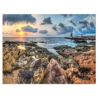 Rocky Blue Seashore Sunset - Extra Large Seashore Glossy Metal Wall Art