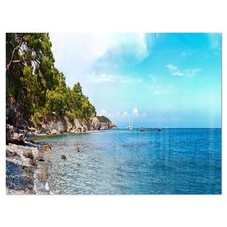 Wild Blue Beach Panorama View - Extra Large Seashore Glossy Metal Wall Art