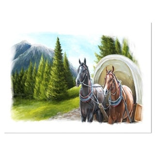 Road in Mountains with Horses - Landscape Glossy Metal Wall Art