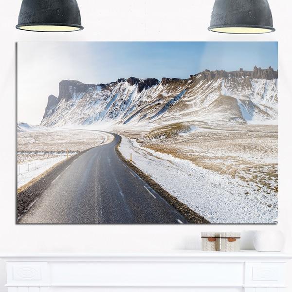 Range Road in Winter Mountains - Landscape Glossy Metal Wall Art