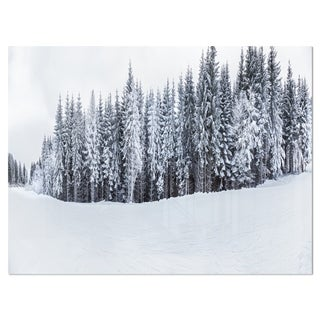 Black and White Snow-Capped Hills - Landscape Glossy Metal Wall Art