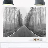 Black and White Freeway in Forest - Landscape Glossy Metal Wall Art