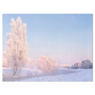 White Crystal Tree and Landscape - Landscape Glossy Metal Wall Art
