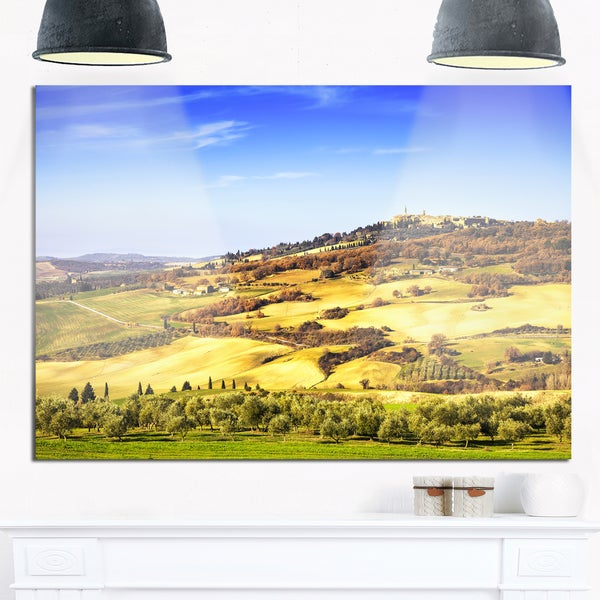 Pienza Medieval Village Italy - Oversized Landscape Glossy Metal Wall Art