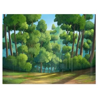 Green Jungle with Dense Trees - Oversized Landscape Glossy Metal Wall Art