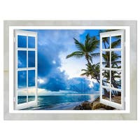 Window Open to Cloudy Blue Sky - Oversized Landscape Glossy Metal Wall Art
