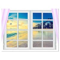 Closed Window to Ocean Sunset - Oversized Landscape Glossy Metal Wall Art