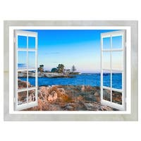 Open Window to Blue Seashore - Oversized Landscape Glossy Metal Wall Art