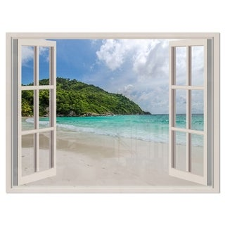 Open Window to Calm Seashore - Extra Large Seashore Glossy Metal Wall Art
