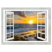 Open Window to Bright Yellow Sunset - Modern Seascape Glossy Metal Wall Art