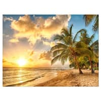 Gorgeous Beach of Island Barbados - Modern Seascape Glossy Metal Wall Art