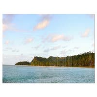 Aitutaki Lagoon Large Panorama - Modern Seascape Glossy Metal Wall Art