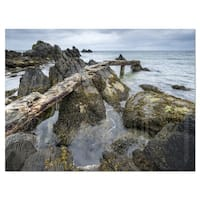 Rocky North Ireland Seashore - Modern Seascape Glossy Metal Wall Art