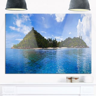 Tropical Island at Seychelles Panorama - Modern Seascape Glossy Metal Wall Art