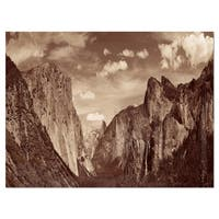 Rocks and Forest in Black and White - Landscape Glossy Metal Wall Art