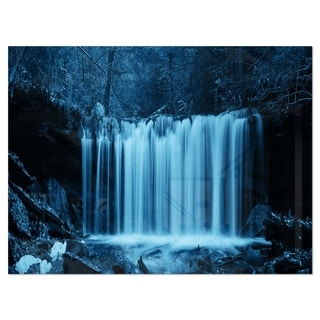 Waterfalls in Wood Black and White - Landscape Glossy Metal Wall Art