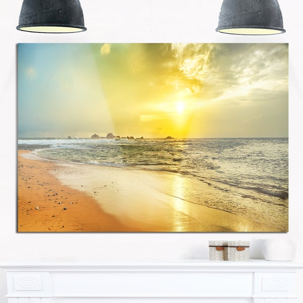 Bright Yellow Sunset Beach Panorama - Modern Seascape Glossy Metal ...
