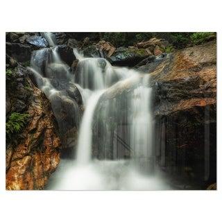 Slow Motion Waterfall on Rocks - Landscape Glossy Metal Wall Art