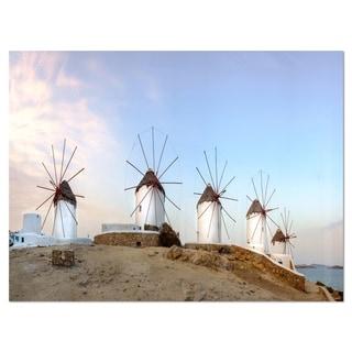 Traditional Greek Windmills Panorama - Landscape Glossy Metal Wall Art