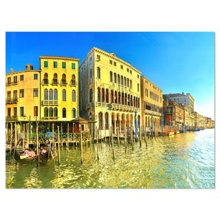 Yellow Tinged Grand Canal Venice - Cityscape Glossy Metal Wall Art
