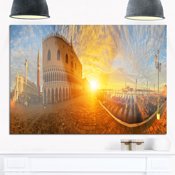 Bright Sunrise in Italy Panorama - Cityscape Glossy Metal Wall Art
