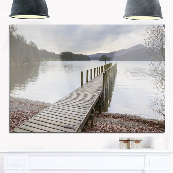 Wooden Jetty on Lake District - Wooden Sea Bridge Glossy Metal Wall Art