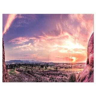 Evening Red Sky over Phoenix Arizona - Landscape Glossy Metal Wall Art