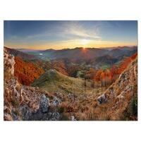 Majestic Sunset in Mountain Landscape - Landscape Glossy Metal Wall Art