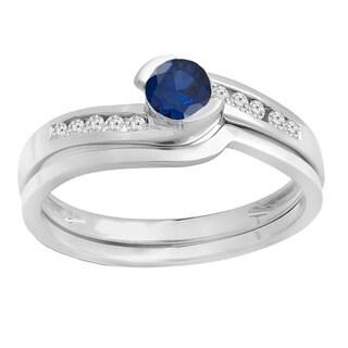 14k Gold Blue Sapphire and 1/3ct TDW White Diamond Bridal Set (H-I, I1-I2)